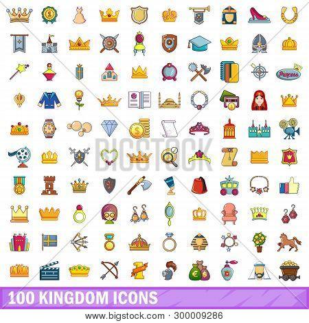 100 Kingdom Icons Set. Cartoon Illustration Of 100 Kingdom Icons Isolated On White Background