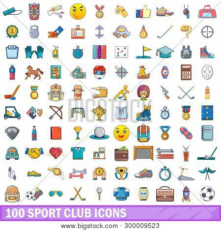 100 Sport Club Icons Set. Cartoon Illustration Of 100 Sport Club Icons Isolated On White Background
