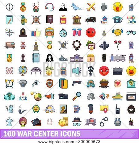 100 War Center Icons Set. Cartoon Illustration Of 100 War Center Icons Isolated On White Background