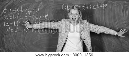 You Are So Smart. Teacher On School Lesson At Blackboard. Woman In Classroom. Study And Education. M