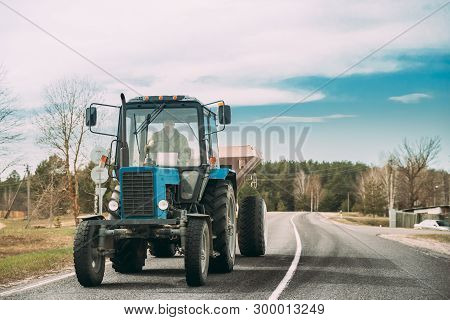 Gomel, Belarus - April 16, 2019: Tractor The Mtz-82 The Belarus On Country Road. Belarus - A Brand O
