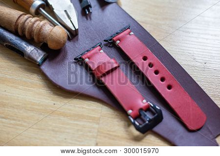 Leather watch strap handmade craftsmanship working, Apple watch leather poster