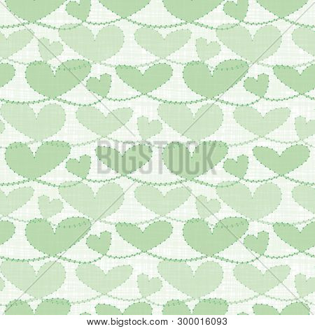 Fresh Green Transparent Pastel Hearts With Watercolor Grid Texture. Seamless Vector Pattern On White