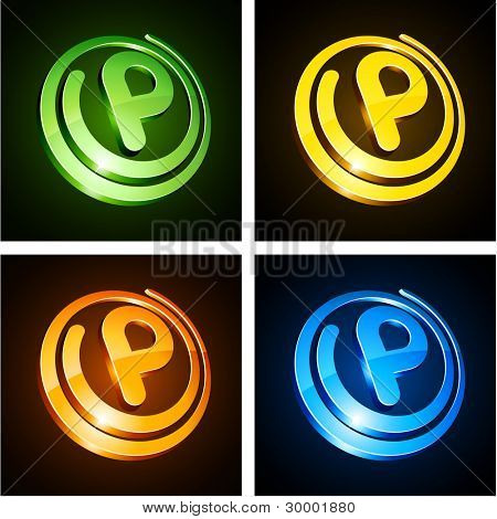 Vector illustration of p shiny letters.