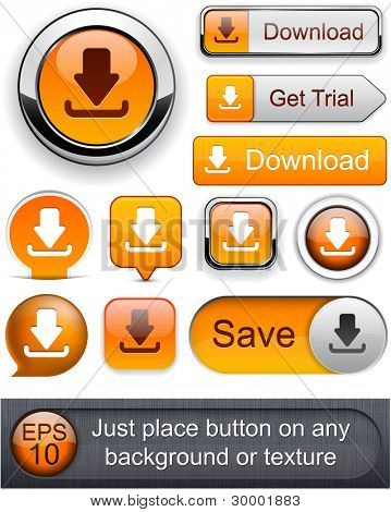 Download web orange buttons for website or app. Vector eps10.