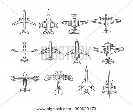 Modern Types Of Planes. Large And Small Passenger Aircraft. Air Transport. Vector Illustration In Fl