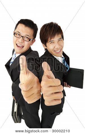 happy asian businessman with thumbs up success