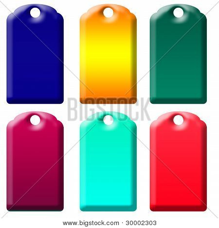 Six Tagss Of Gradient Colors Isolated