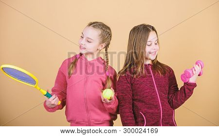 Friends Ready For Training. Ways To Help Kids Find Sport They Enjoy. Girls Cute Kids With Sport Equi