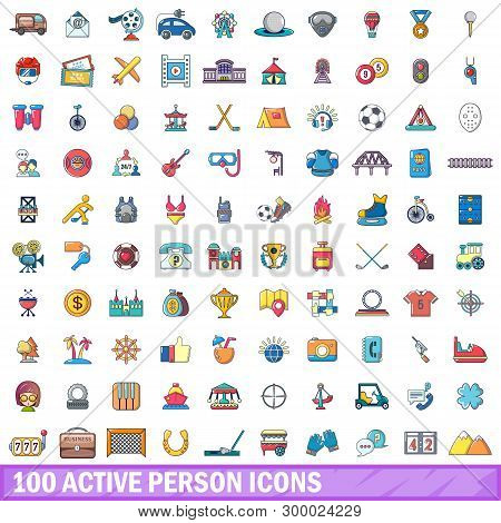 100 Active Person Icons Set. Cartoon Illustration Of 100 Active Person Icons Isolated On White Backg