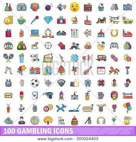 100 Gambling Icons Set. Cartoon Illustration Of 100 Gambling Icons Isolated On White Background