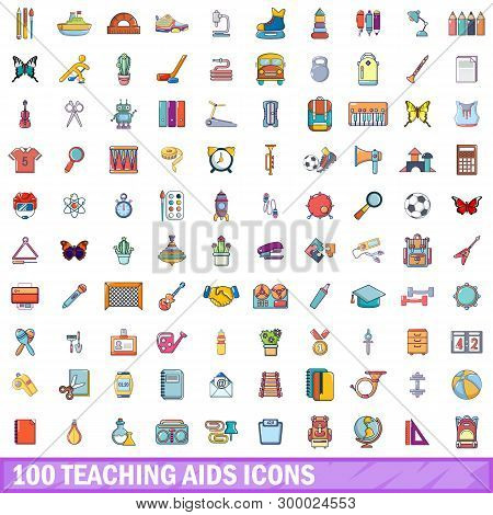 100 Teaching Aids Icons Set. Cartoon Illustration Of 100 Teaching Aids Icons Isolated On White Backg