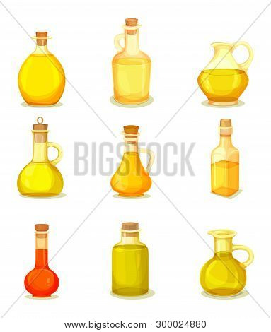Set Of Isolated Jars With Oil Liquid Inside. Bottle With Linseed And Almond, Corn And Sesame, Cedar