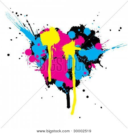 Heart shaped ink stains. Vector illustration