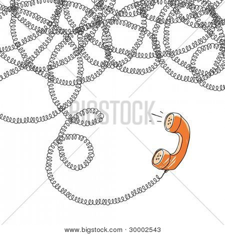 Handset and tangled wires, vector illustration