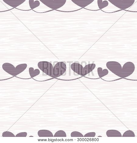 Textured Lilac Hearts With Silver Dot Edging On Rough Painterly Texture. Seamless Vector Pattern On