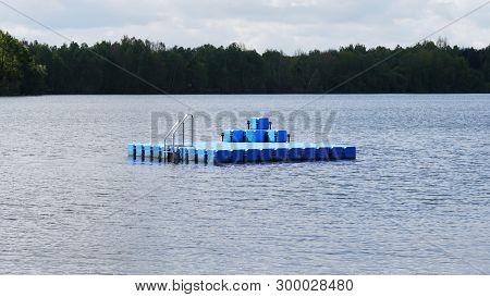 Swim Or Swimming Platform Floating On Bathing Lake