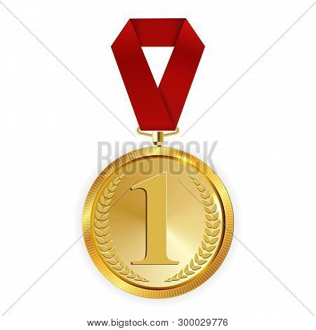Champion Art Golden Medal With Red Ribbon L Icon Sign First Place Isolated On Transparent Background