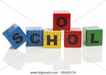the word school spelled with wooden alphabet building blocks isolated on white