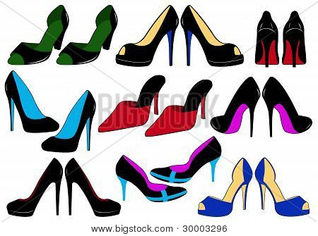 Illustration of different shoes