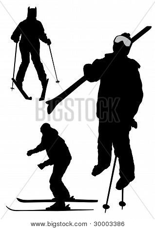 Illustration of skiers silhouettes
