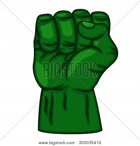 Green Superhero Fist On A White. Logo, Comics.