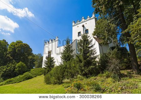 White Manor House In Strážky, Town Spisska Bela, In Renaissance Style Surrounded By A Park Is Nation