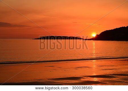 Sunset; Golden Light In Madorra Beach, Galicia
