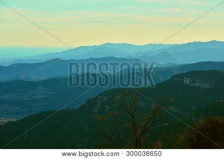 Winter; Silhouettes Of Mountains On The Horizon
