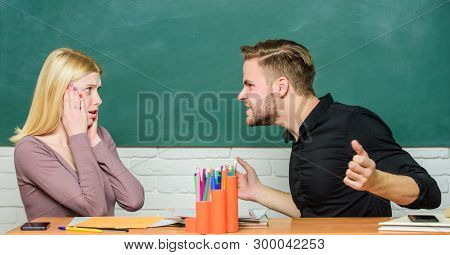 Communication between group mates. Friendship and relations. Compromise solution. College relations. Relations with classmates. Students communicate classroom chalkboard background. Education concept poster