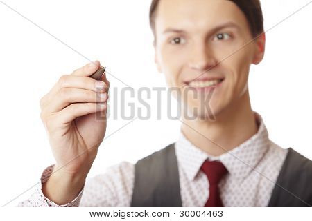 Businessman Is Writing On A Virtual Whiteboard