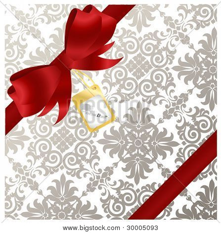 Red bow on a red ribbon with luxury background - Gift for a lover. Vector illustration.