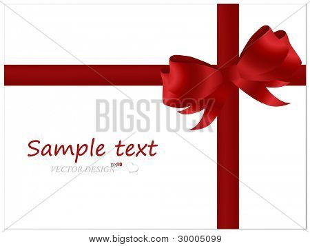 White cards with red ribbons. Vector illustration.