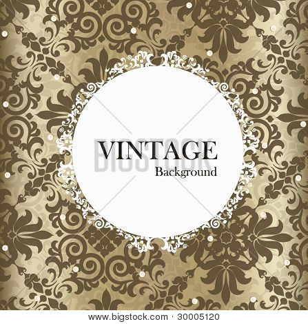 Seamless retro pattern background with vintage label. Vector illustration.