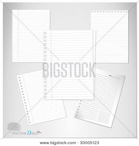 Lined paper and Note Paper.  Vector Illustration.
