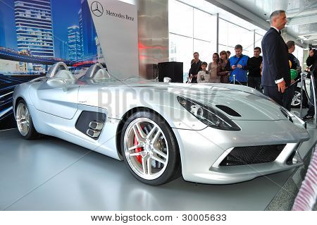 """Kiev - September 11: Mercedes-benz Slr Mclaren Stirling Moss At Yearly Automotive-show """"capital Auto"""