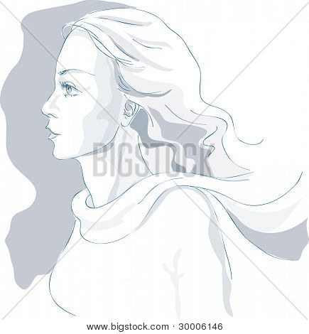 Beautiful woman hand drawn artistic sketch. Profile portrait, wind in hair, scarf. Vector illustration