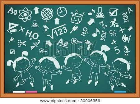 outline of merry children with icons on the blackboard