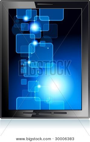 touchscreen  tablet  with a transparent buttons.  Concept of the modern internet. File is saved in AI10 EPS version. This illustration contains a transparency