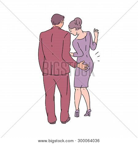 A Male Colleague Or Boss In A Suit Touches A Woman In A Dress Behind Her Ass.