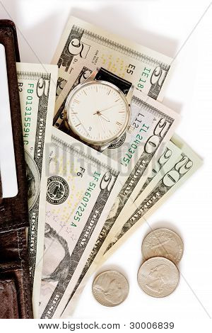 Wallet with money and watch on white background.