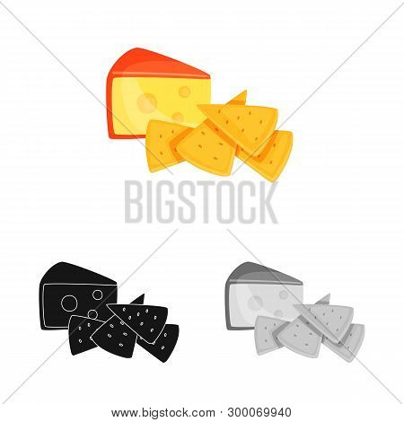 Vector Illustration Of Cracker And Appetizer  Sign. Collection Of Cracker And Lactic Stock Symbol Fo