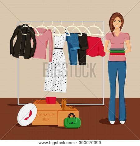 Vector Illustration Of Clothes Donation. Girl Is Keeping Clothes And Carton Boxes Full Of Clothes. J
