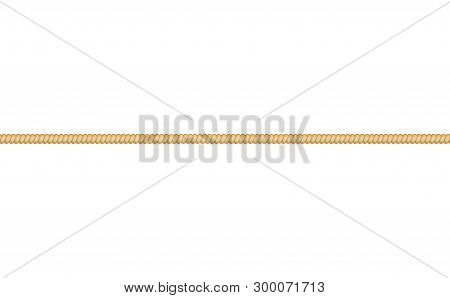 Straight Cordage Marine Rope Or Twisted Cord Vector On White Background.