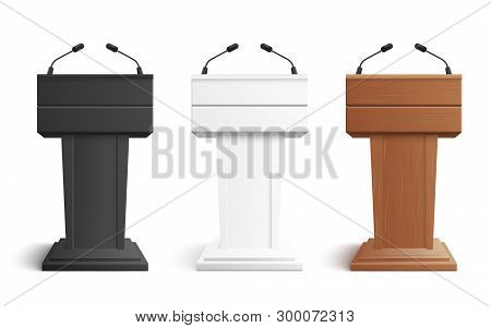 Stage Stand Or Debate Podium Rostrum With Microphones Vector Illustration Isolated On White.