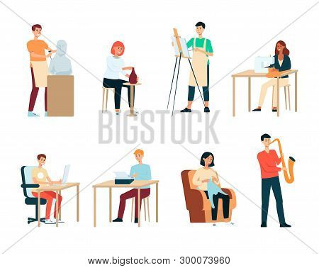Set Of People With Artistic Occupations Cartoon Style