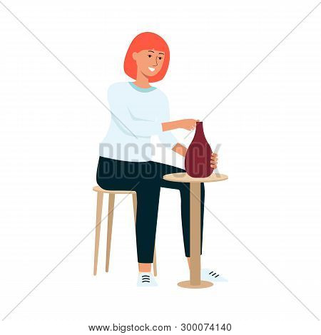 Woman Is Sitting On Chair And Crafting Clay Vase Cartoon Style