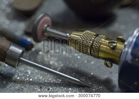 Workplace Jeweler In The Process Of Creating Jewelry