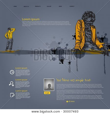 Vector grunge website template with people