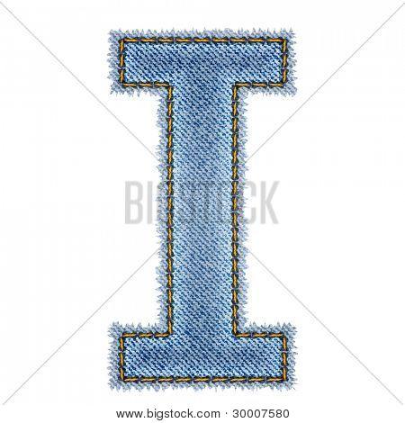Jeans alphabet. Letter I. Vector eps10 background